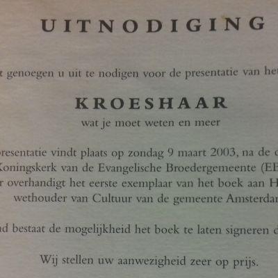 uitnodiging boekpresentatie 2003 kroeshaar