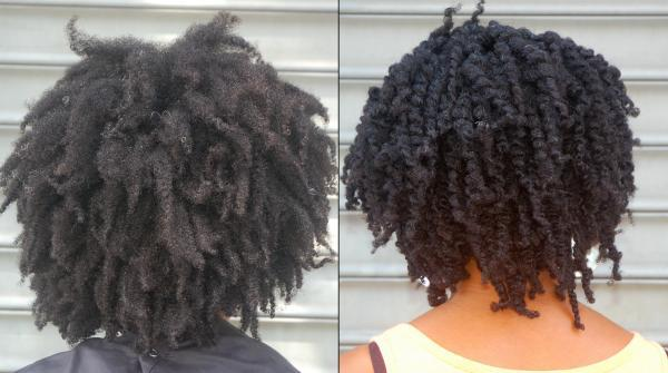 before after twist out back