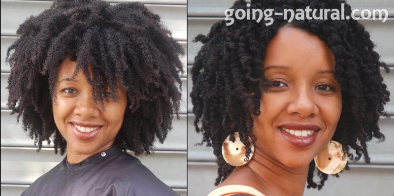 Voor en na gebruik van Going Natural hair Care