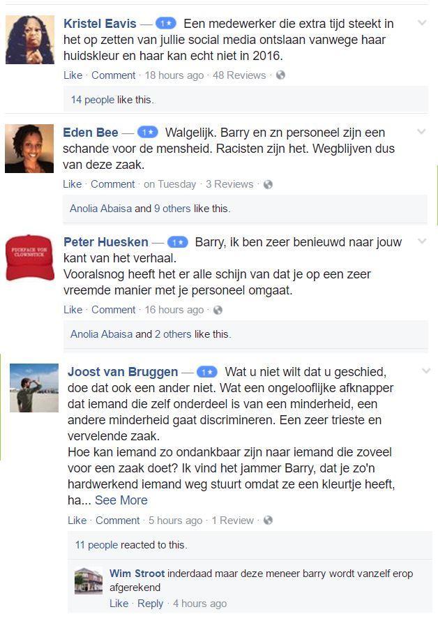 Negatieve facebook reviews tegen racisme